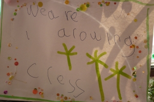 Lucia made this sign for our cress garden