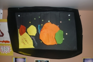 Lucia made this model of the Solar System at home