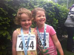 Here are Laurie and Lucia complete with medals after taking part in a childrens run at Loch Lomond.