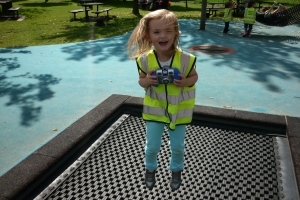 Last week we visited Victoria Park and found lots of things to do. We liked the maze and the pirate ship and the huge chute. Here is Maggie on the trampoline.