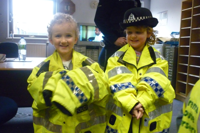 Here are Archie and Laurie finding out what it would be like to wear a police jacket during our visit to the station last week.