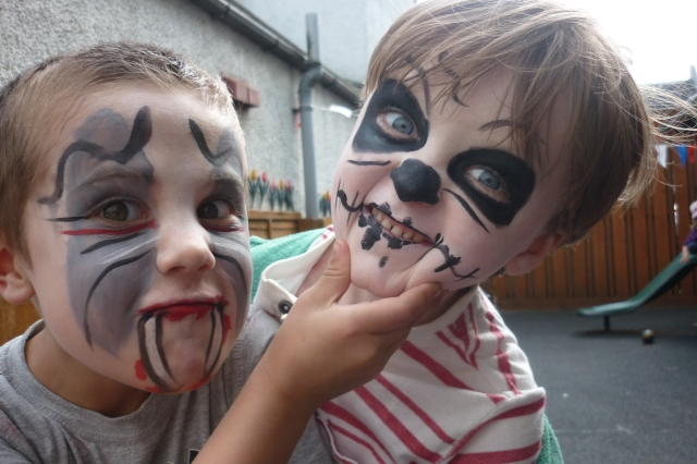 Today was Arthur's last day at nursery. He starts school next month, along with some of his friends. This was his request for his last day - having his face painted. We are soooo going to miss you Arthur.