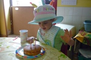 Our wee Adam is 3 now, and he wore the birthday hat all day!!