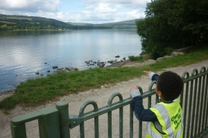 This was the moment Tage spotted the yellow sea plane landing across the loch. We had a lovely day and didn't need to share our sandwiches with the swans this time!
