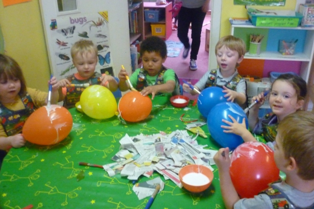 This was the best fun and we loved it because we hadn't used papier mache in nursery before. Also, we all laughed when one of the balloons burst in Melanie's face. It was so funny.