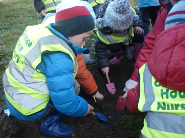We had already planted our bulbs for Spring and had some left over. So we went across to the Children's Wood and planted the rest there. We like to go there are play so we help to keep it looking nice for everyone.