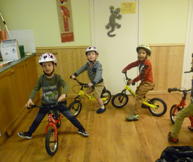 Here we are having our first  lesson. Louise went on a course to learn how to be a cycle instructor and now she is teaching us all kinds of  important things about being a responsible cyclist. ~We are enjoying the games sooooo much!!!!!