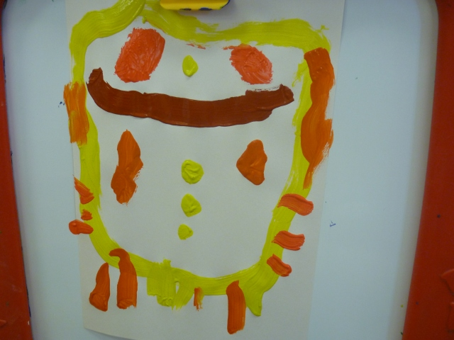 A painting by Ruby, who was inspired by the new bird feeder which was an owl.